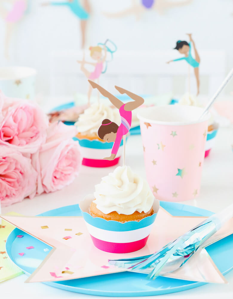 Twinkle Twinkle Little Party Girls-Gymnastics-Party-Ideas Featuring Oh Happy Day Sky Blue Plates and Meri Meri's Jazzy Star plates and cups, and Merrilulu's Gymnastics cupcake toppers