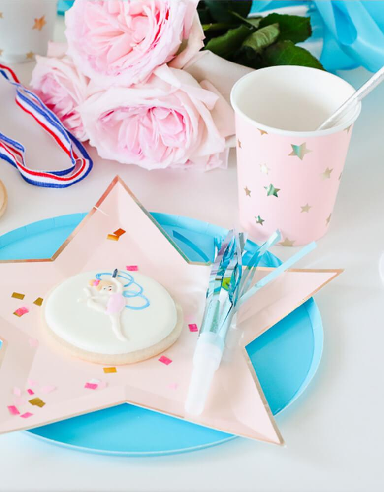 Twinkle Twinkle Little Party Girls-Gymnastics-Themed-Birthday Party Ideas featuring Meri Meri's Jazzy Star Plates and Cups