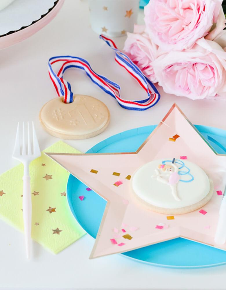 Twinkle Twinkle Little Party Girls-Gymnastics-Themed-Birthday Party Ideas featuring Meri Meri's Jazzy Star Plates and Napkins