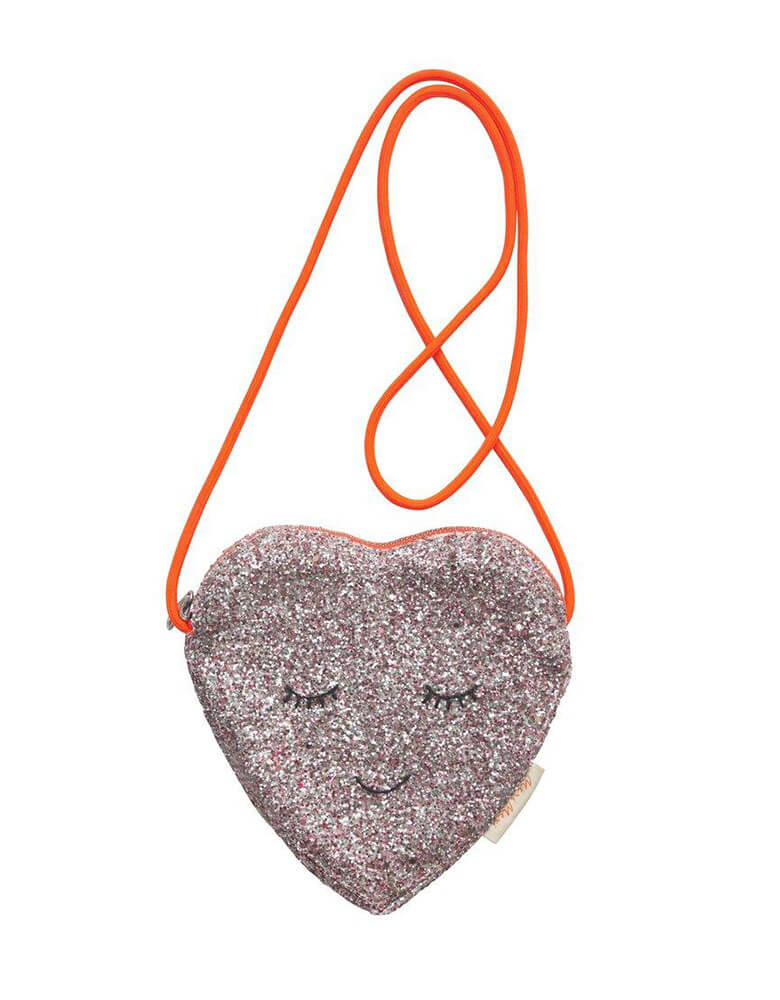 Meri Meri Glitter Heart Bag with Neon Colored Strip perfect for little girl's Valentine's Day gift