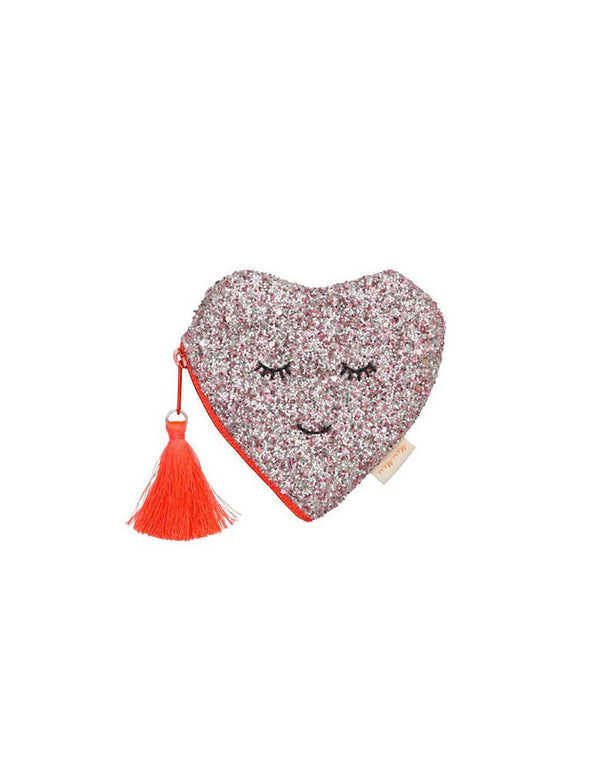 Meri Meri Glitter Heart Coin Purse for Little Girl's birthday Gift for Valentine's Day gift