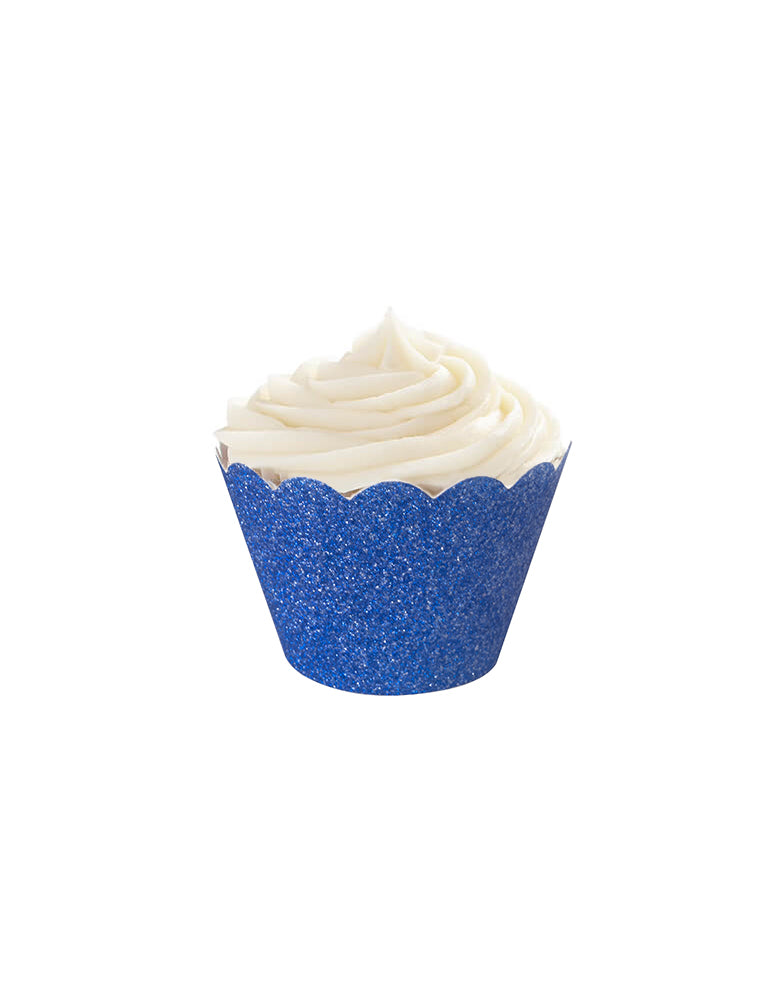 Glitter Ice Blue Cupcake Wrapper on a white cupcake