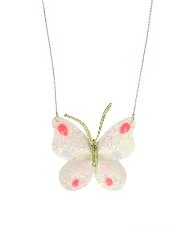 Meri Meri Glitter Butterfly Necklace. This cute necklace is beautifully crafted from iridescent glitter fabric with 'gem' embellishments and has a stylish rose gold enamel bead chain. This beautiful butterfly necklace is a gorgeous accessory for your little one, birthday gift for birthday girl who is a butterfly lover, faire lover. gift for a garden themed birthday, easter basket, stocking stuffer, girls' birthday.