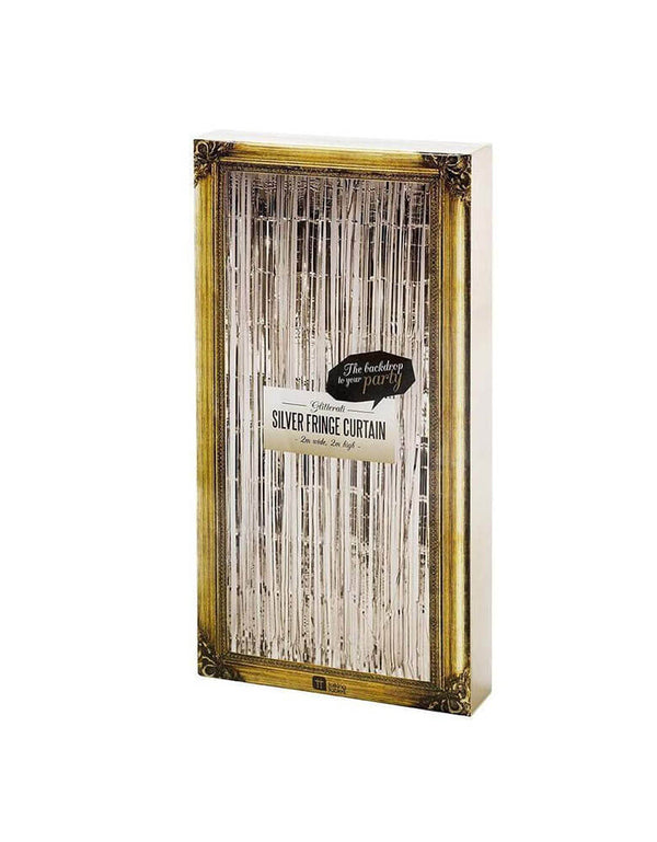 Talking Tables 2M Glitterati Silver Fringe Curtain in Package