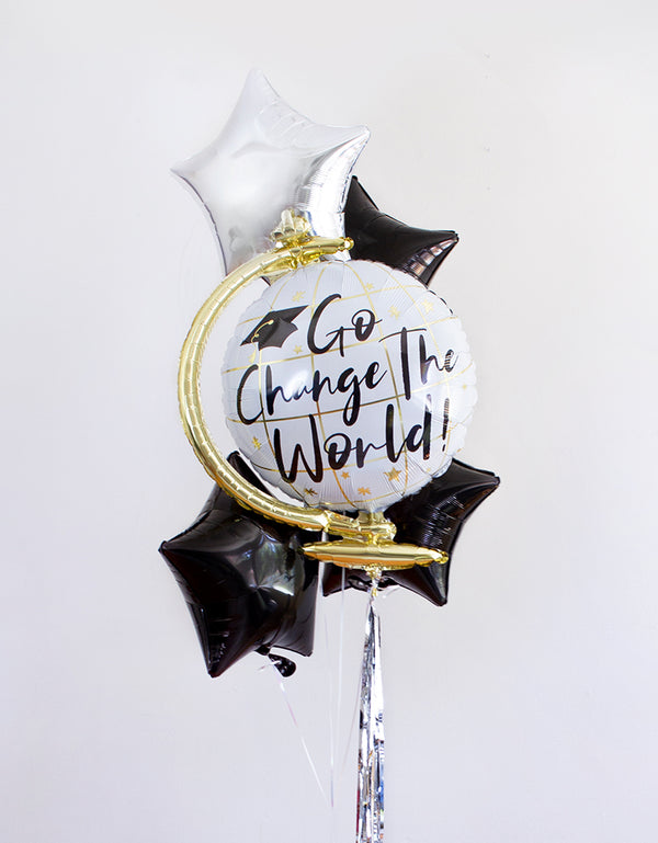 Go-Change-The-World-Graduation-Foil-Balloon-Bouquet with anagram GO CHANGE THE WORLD FOIL MYLAR BALLOON and Black start foil balloons and Sliver Start Balloons and sliver tassel