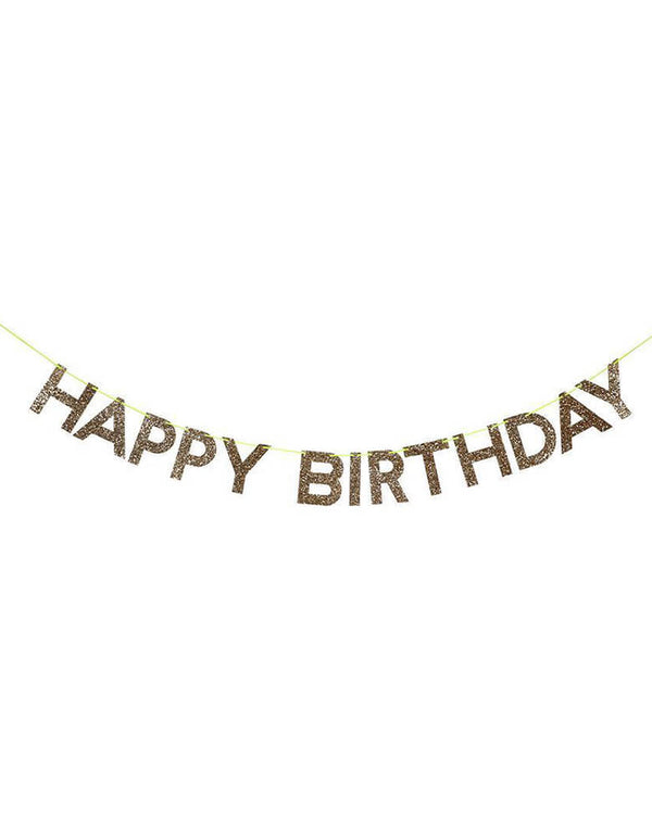 Meri Meri Gold Happy Birthday Garland. 3 letter pennants, pre-strung on 95-inch neon cord