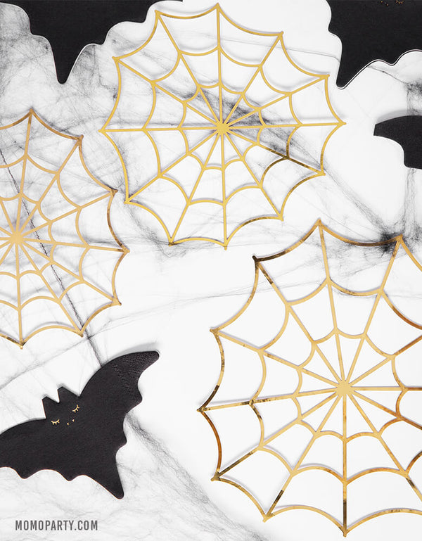 Gold Spiderweb Decorations (Set of 3)