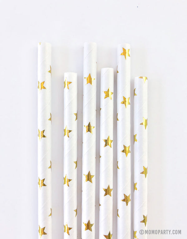 Eco-friendly Paper Party Straws in shiny stars gold foil