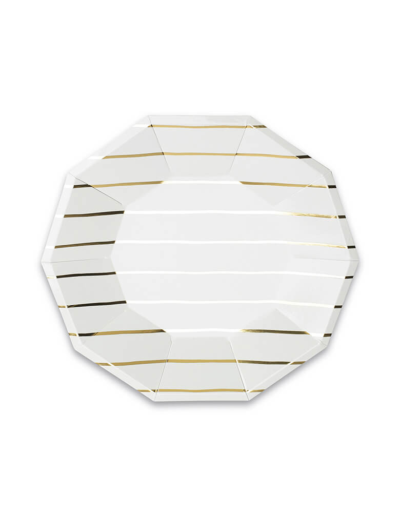 "Daydream Society 9.5"" Gold Striped Large Plates Set of 8"