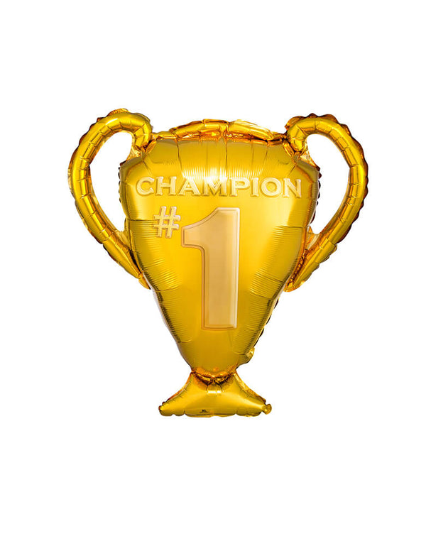 "Anagram Balloon  - 35393 Super Shape Gold Trophy Foil Mylar Balloon. This  28"" Super shaped balloon featuring a Gold trophy shape with ""#1 Champion"" design on it. Race to the final line with this awesome champion gold trophy foil balloon"