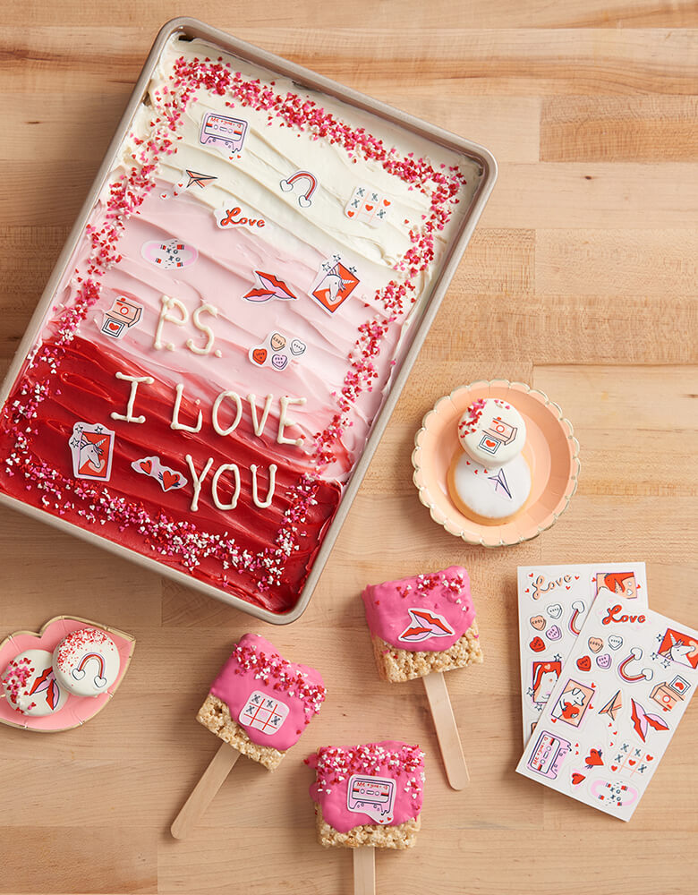 Goodie Goodie Valentine's Day Themed Edible Decorating Stickers on various baked goods including cakes,  cookies and rice krispie pops