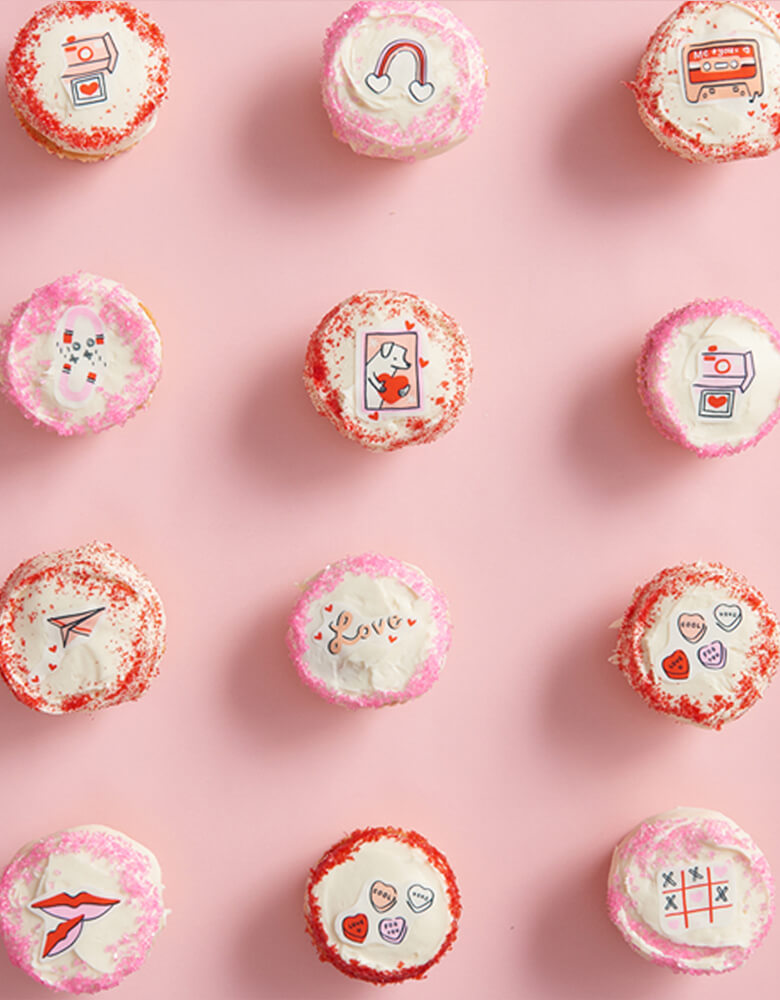 Goodie Goodie Valentine's Day Themed Edible Decorating Stickers on a dozen of cupcakes