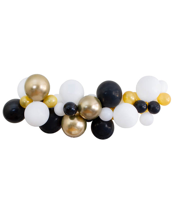 "Balloon Garland Assorted 11"" (large) & 5"" (small)   latex balloons in chrome gold (11"" only), white, black, and gold, perfect decoration for a Graduation Party and Celebration at home"
