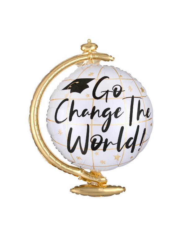 "Anagram 23"" Go Change The World Foil Mylar Balloon for a Graduation party celebration"