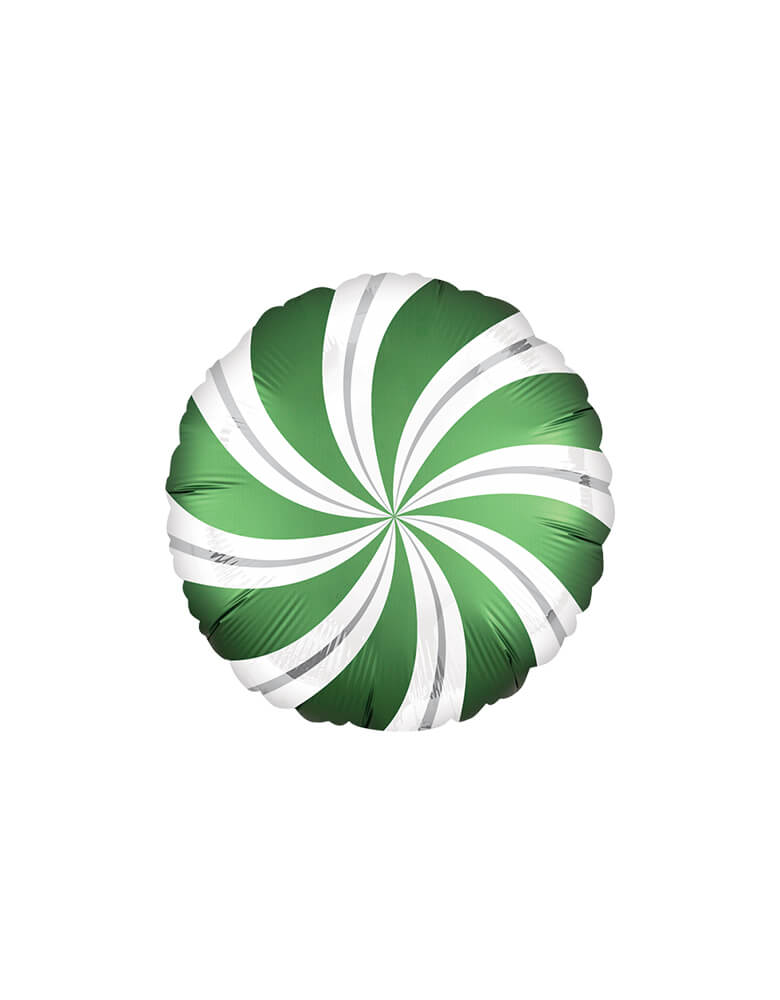 Green-Satin-Candy-Swirls-Mylar-Balloon for a Christmas Party
