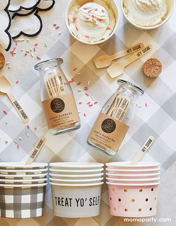 "Summer party with ice cream in the Ice cream treat cups, mini wooden spoons with ""hey Sugar"" text print on it, Cupcakes Sprinkles around the table, on top of the Grey Buffalo Check Table Runner"