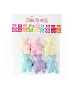 Roxy Grace - Gummy Bear Bath Bombs. pack of 6. featuring 6 Gummy bear shaped bath bombs in pastel color. Each Gummy bear is scented with the concentrated aroma of the highest quality essential oils and organic fragrance oils. They make perfect a sleepover party gift, salon themed party, a fun bath time or Easter basket fillers for your little ones!