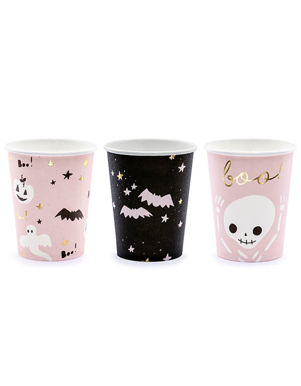 Party Deco Halloween Boo! Paper Cups, An adorable set of party cups in 3 designs of ghosts, bats and skeletons in pastel pink and black. A must for your pink Halloween party!