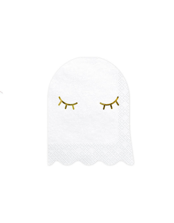 Party Deco Halloween Ghost Napkin, Featuring a cute smiley ghost die-cut design with gold foil detail. Add these boo-tiful ghost shaped napkins to your Halloween celebration, Kids modern spooky halloween party, hocus pocus party, trick-or-treating party, nightmare before christmas party, spooktacular halloween party and all halloween related celebrations