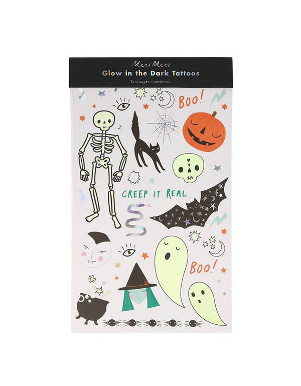 Meri Meri Halloween Glow Tattoo Sheets, feathering Silver holographic foil & glow in the dark ink detail. Your Halloween party guests will adore these terrific temporary tattoos. They glow in the dark and have simply fantastic silver holographic foil details too! They're also perfect to pop into party bags as gifts, or use as birthday face painting actives