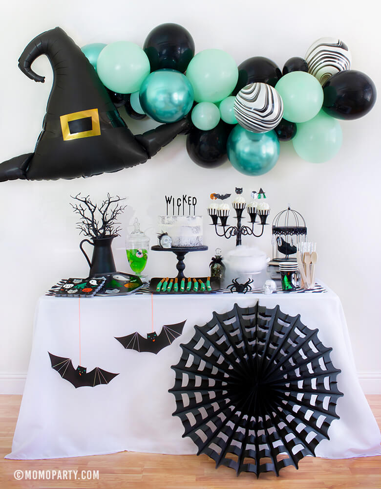 Black Halloween Spider Web Fan Decoration