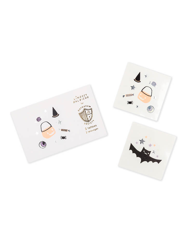 Daydream Society_Halloween Hocus Pocus temporary tattoo set featuring a bat, trick or treat bucket and a witch's hat