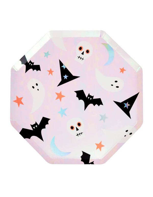 Meri Meri Halloween Icons Dinner Plates, These shimmering plates feathering Neon print & silver holographic foil detail, covered with classic Halloween icon designs including a scary skull, black bat, glimmering ghoul, and a magnificent moon. Printed in iridescent foil, these modern design, high quality, eco-friendly paper plates partywares are perfect for Halloween party, kid birthday party  it will really set the scene for your fear-filled festivities!