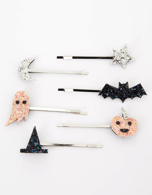 Meri Meri Halloween Icons Glitter Hair Slides. Beautifully crafted with metallic glitter fabric icons, Featuring a witch's hat, pumpkin, ghost, star, moon and bat, all covered with shimmering glitter. They have silver tone hair slides for a stylish look A fantastic gift for little people who love hair accessories, halloween party favors, halloween basket filler, halloween birthday party gift
