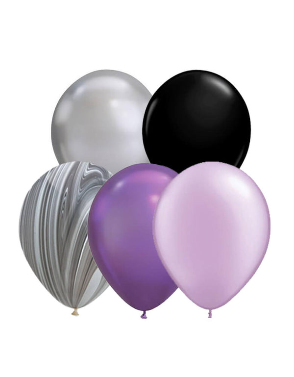 "Qualatex 11"" Latex Balloon Mix with Black, Chrome silver, Chrome Purple, Pearl Purple, Marble for a unique spooky halloween party, halloween decorations"