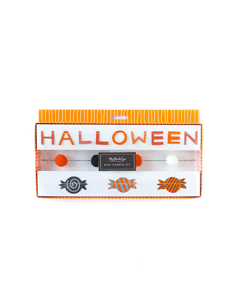 My Mind's Eye Halloween Mini Banner Set featuring candies and mini pom poms and spelled word of Halloween in its package