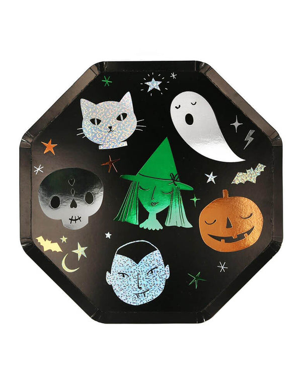 Meri Meri Halloween Motif Dinner Plates. These  elegantly eerie plates featuring all the favorite Halloween characters, like Ghost, Cat, Skelton, Witch, Pumpkin, and vampire. They look amazing with lots of silver, green and copper shimmering sparkle and foil detail. This modern partyware is perfect for a kid-friendly modern spooky halloween party, trick-or-treating halloween party, nightmare before Christmas party, witch themed party and all halloween related celebrations