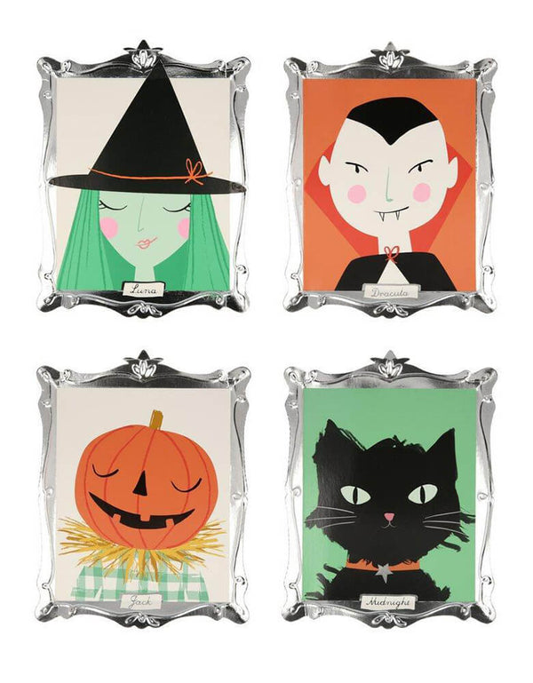 Meri Meri Halloween Motif Frame Plates, Pack of 8 in 4 designs, features Vampire Dracula, Luna witch, Midnight the black cat and Jack o'Lantern, with lots of shimmering silver foil detail. These plates look like boo-tasticly spooky works of art - worthy of eating Halloween tasty treats off or even hanging on the wall as decorations