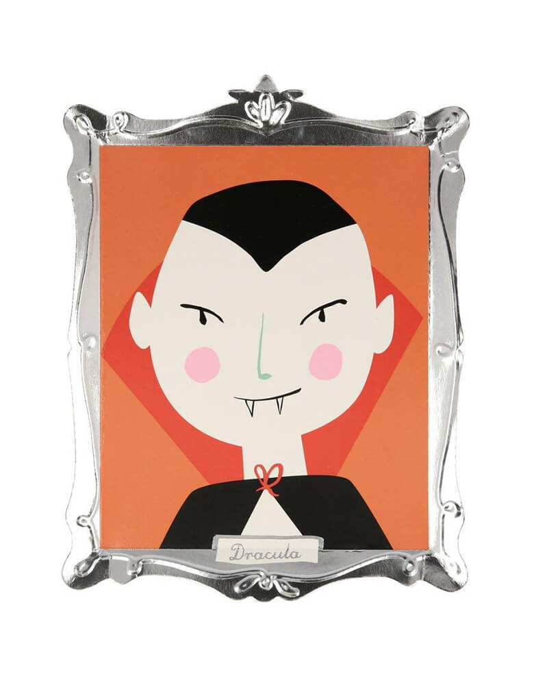 Meri Meri Halloween Motif Frame Plate of Vampire Dracula design and shimmering silver foil frame detail. These plates look like boo-tasticly spooky works of art - worthy of eating Halloween tasty treats off or even hanging on the wall as decorations