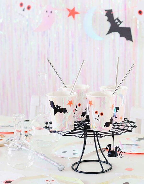 Meri Meri_Halloween-Icons-Cups on a spider web cake stand in a kids halloween party