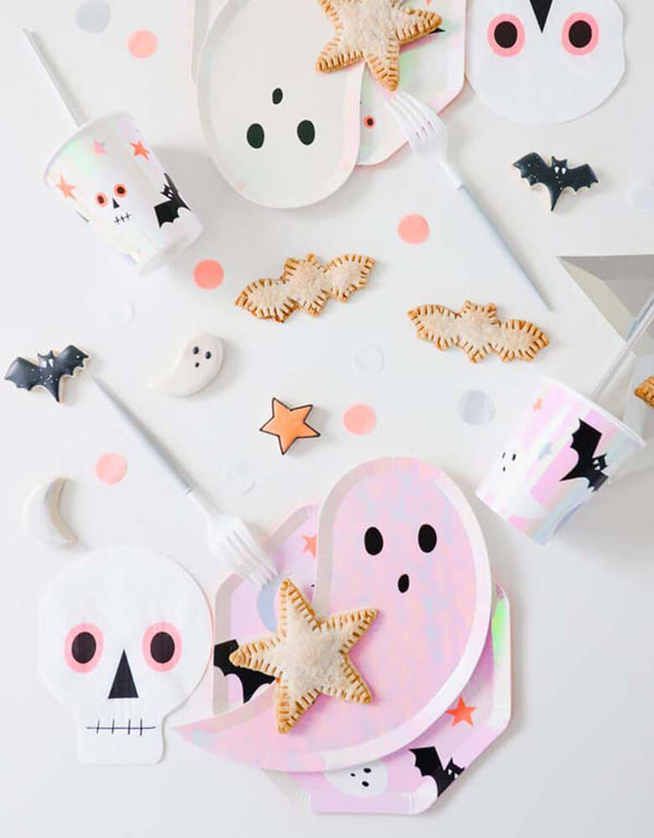 Meri Meri_Iridescent-Ghost-Plates on a beautiful table full of Halloween themed tableware