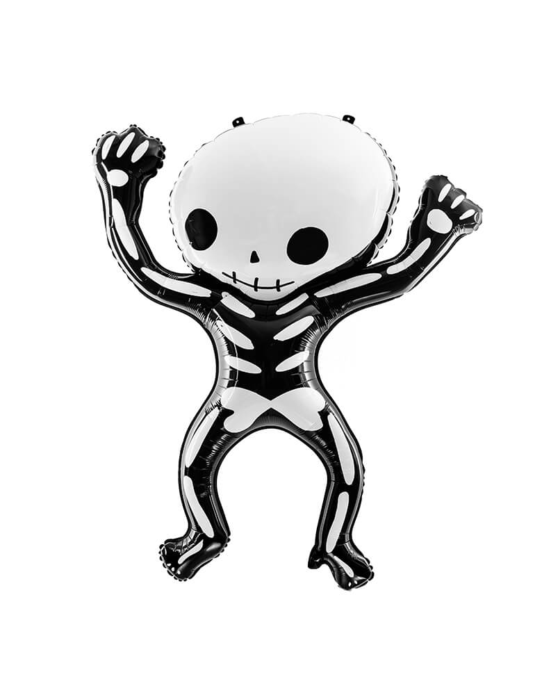 Party Deco - Halloween Skeleton Foil Mylar Balloon, The balloon is designed in the shape of a funny skeleton and measures 33 x 39 inches. Add this modern fun skeleton foil balloon to your or your kid-friendly modern spooky halloween party, trick-or-treating halloween party, nightmare before christmas party, witch themed party and all halloween related celebrations
