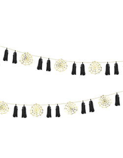 Party Deco Halloween Spiderweb Paper Garland, 5.8 ft long, This DIY paper garland features 5 boo-tiful gold spiderwebs and 12 black tassels. each set includes 5 spiderwebs, 12 black tassels, 12 clips and a gold string. Add this faboolous garland to your Halloween celebration, halloween home decoration, Kids modern spooky halloween party, hocus pocus party trick-or-treating party, nightmare before christmas party, witch themed party and all halloween related celebrations