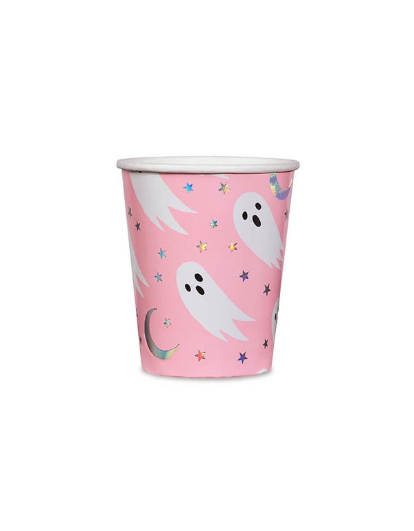 Daydream Society_Halloween Spooked Party Cups featuring ghosts and holographic star elements in bright neon coral pink design