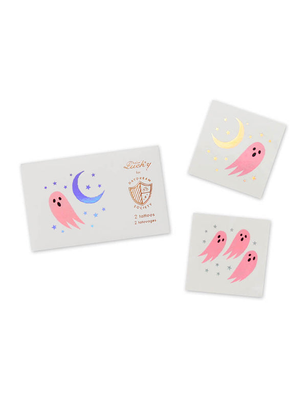 daydream Society_Halloween Spooked Temporary Tattoos featuring pink ghosts and silver moon design
