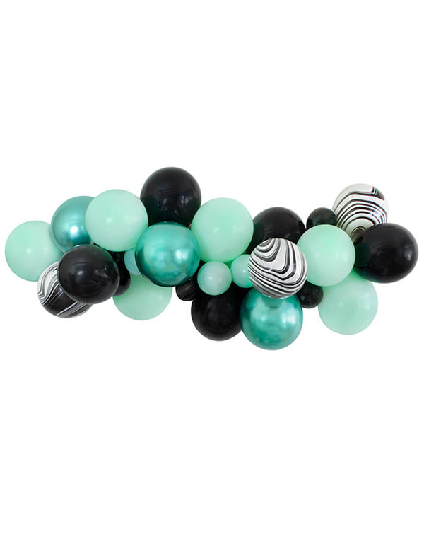 Momo Party 2020 Halloween Collection, Witch Please themed Balloon Garland/Cloud, mix with 11 inch and 5 inch Pastel Matt Mint, Chrome green, Black, Black and White Marble color Latex Balloons. Unique Decoration for your Halloween party , A Modern Witch Inspired Halloween Party, trick-or-treating Halloween party, Night Haunted House Birthday Party, nightmare before christmas party and all kind celebrations