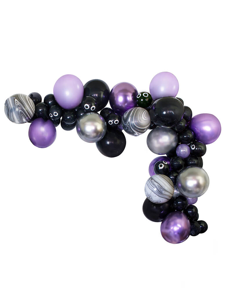 2019 Momo Party Kids New Halloween Collection Balloon Garland/Cloud with Chrome Purpler, Black, Silver, Black swir, Pearl Purpler color balloons