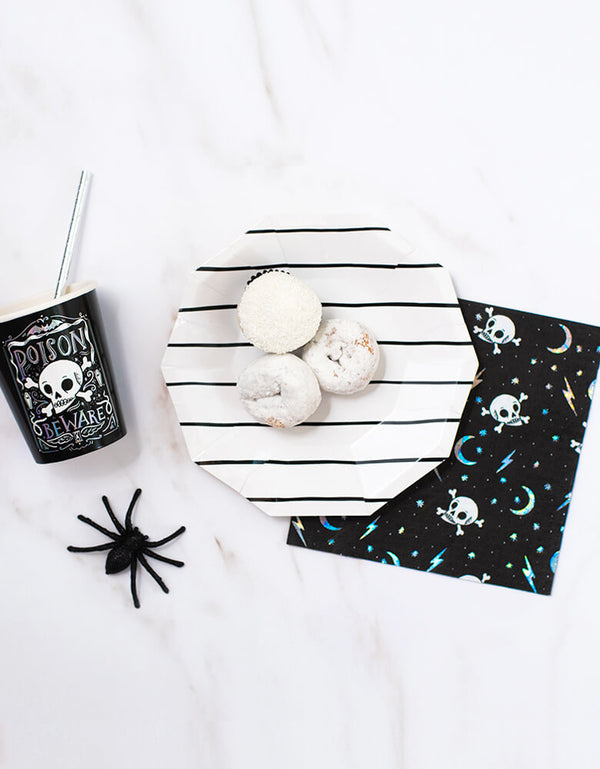 Day Dream Society Halloween set with Halloween Doomsday Napkins, small black-frenchie stripe plate and doomsday cup with sliver paper straw and spider for a modern cool look Halloween party, these partyware will make an epic halloween party, skull themed party, halloween party for all age