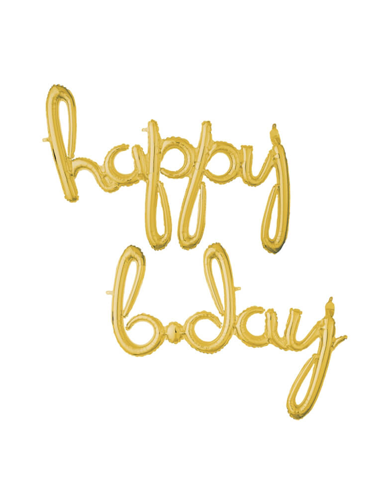 "Anagram 37937 Script Phrase ""Happy Bday"" Gold - Happy Bday Gold Script Mylar Balloon Set"