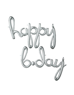"Anagram 37936 Script Phrase ""Happy Bday"" Silver - Happy Bday Silver Script Mylar Balloon Set"