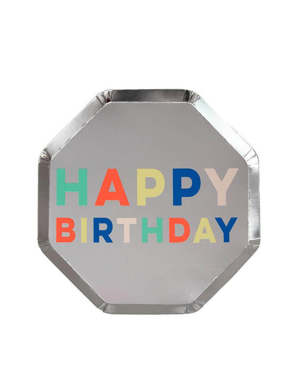Meri Meri Silver Happy Birthday Palette Side Plate with multi-color texts on it