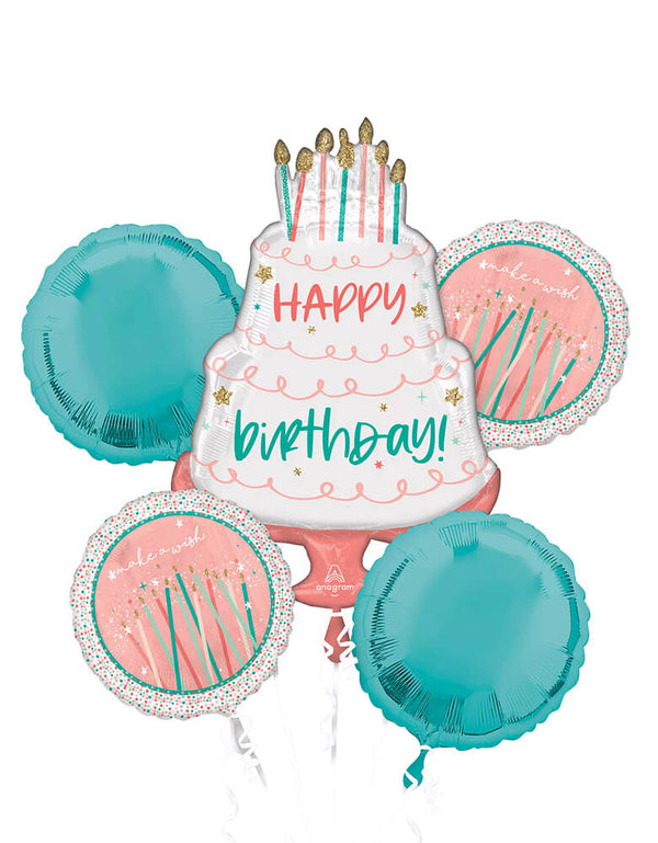 "Anagram Balloons - 42580 Happy Cake Day Bouquet P75. Create a spectacular display for your birthday party with this five-piece balloon bouquet. The large Birthday cake foil balloon features a 2-tired white cake decorated ""happy birthday"" text in pastel pink and mint color , and candles. Round out your eye-catching decoration with same designed two round balloons with candles design and two matching round pastel mint foil balloons."