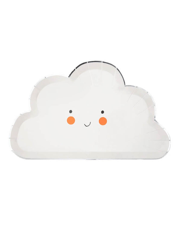 Meri Meri Happy Cloud Plates. Featuring a Cloud die cut shape with a sweet smile and shiny gold border.
