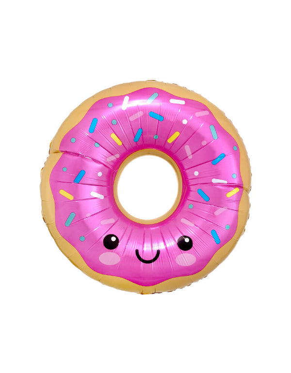"Anagram  27 inches Happy-Donut-Foil-Mylar-Balloon, feather a happy face on a pink donut. It's perfect for a ""donut grow up"" themed first birthday party, Two Sweet birthday party, summer party decorations, sweet tooth party"