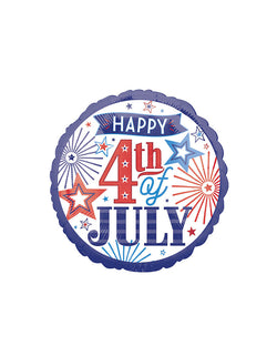 Anagram Balloons - 39589 Happy Fourth Stander HX foil balloon. Happy 4th Of July Foil Balloon for for any patriotic event, 4th of july party