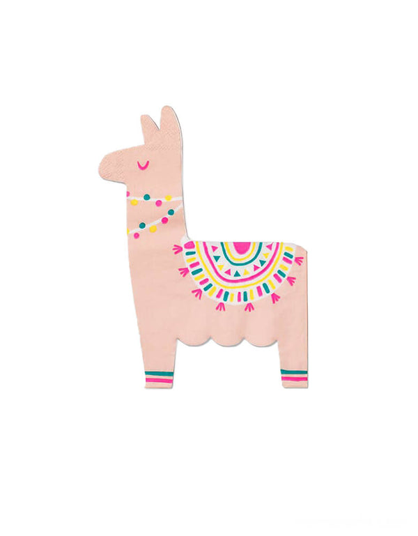 Happy Llama Paper Napkins by Coterie. Featuring a festive pink llama die cut shaped napkin with neon pink and yellow print. These are perfect for a fiesta themed birthday, Cinco de Mayo celebration, party for llama lovers